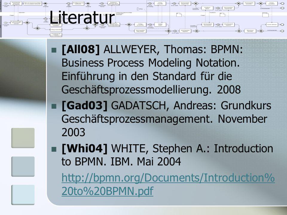 Literatur [All08] ALLWEYER, Thomas: BPMN: Business Process Modeling Notation. Einführung in den Standard für die Geschäftsprozessmodellierung. 2008.